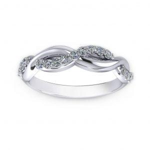 Woven Women's ring - white gold