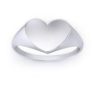 Heart Shaped Signet Ring - white gold