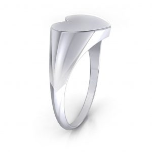 Heart Shaped Signet Ring - side view