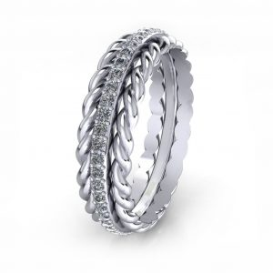 Twisted Sparkling Ring - side view