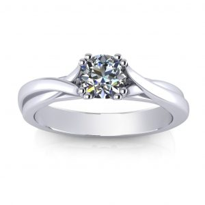 Twisted Engagement Ring - white gold