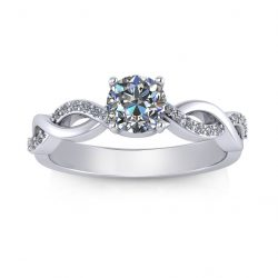 Woven Engagement Ring - white gold