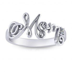 Cursive Mom Ring - white gold