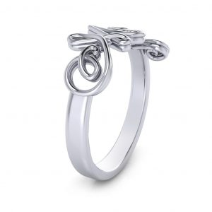 Cursive Mom Ring - side view