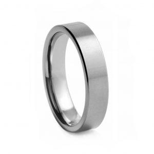 Flat Brushed Tungston Ring 6mm