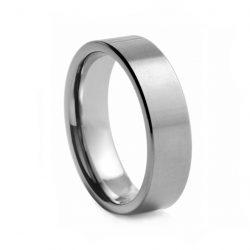 Flat Brushed Tungston Ring 8mm