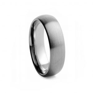 Rounded Brushed Tungston Ring 6mm