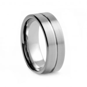Brushed Tungston Ring With Line 8mm