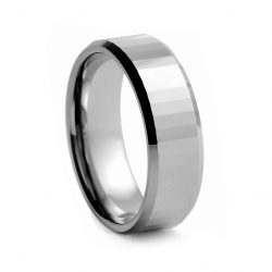 Brushed Step Cut Tungston Ring 8mm