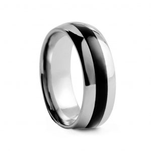Rounded Polishes With Black Inlay Tungston Ring 8mm