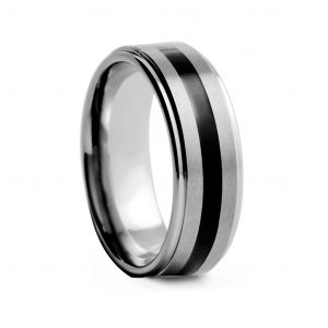 Brushed With Black Inlay Tungston Ring 8mm