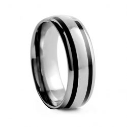 Rounded Polished With Black Inlay Tungston Ring 7mm