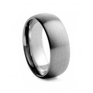 Flat Polished With Beveled Edge Tungston Ring 8mm