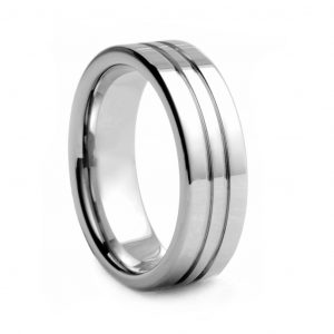 Flat Polished With Double Line Tungston Ring 8mm