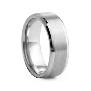 Flat Brushed With Beveled Edge Tungston Ring 8mm