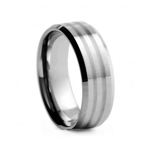 Flat Polished With Brushed Double Line Tungston Ring 8mm