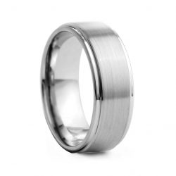 Flat Brushed Centre Tungston Ring 8mm