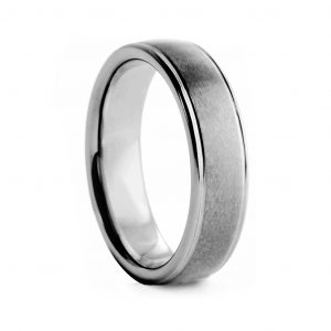 Brushed Centre With Level Edges Tungston Ring 8mm
