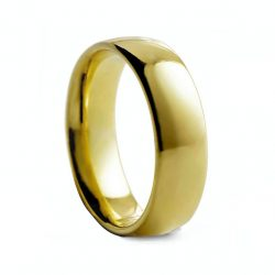 Yellow Rounded Polished Tungston Ring 8mm