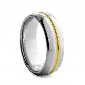 Rounded Polished With Yellow Centre Tungston Ring 6mm