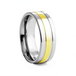 Flat Polished With Yellow Centre Tungston Ring 8mm