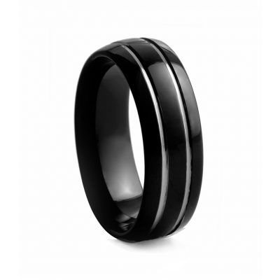 Black Rounded Polished With Lines Tungsron Ring 8mm