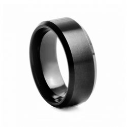 Black Flat Brushed Centre Tungston Ring 8mm