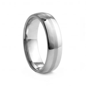Rounded Polished With Brushed Centre Line Tungston Ring 8mm