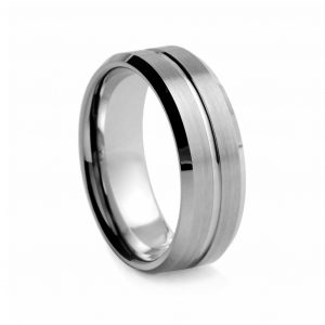 Flat Brushed With Polished Centre Groove Tungston Ring 8mm