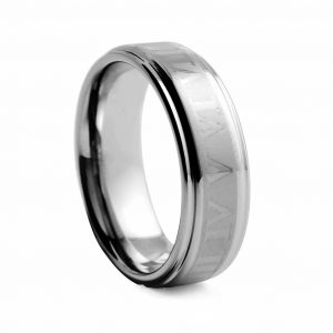 Flat Brushed With Roman Numerals Tungston Ring 8mm