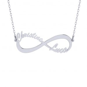 Infinity Name Necklace - white gold