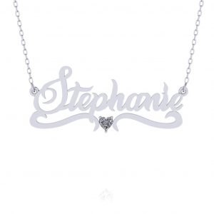 Name Necklace With Heart Design - white gold