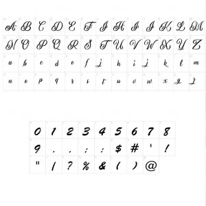 Name Necklace With Heart Design - font guide