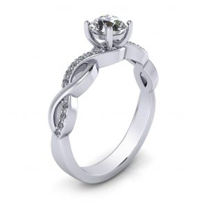 Woven Bridal Set - Engagement Ring - side view