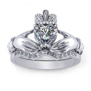 Claddagh Bridal Set - white gold
