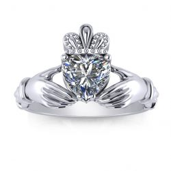 Claddagh Engagement Ring - white gold