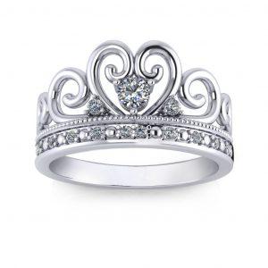 Princess Crown Ring - white gold