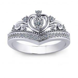 Heart Shape Tiara - white gold