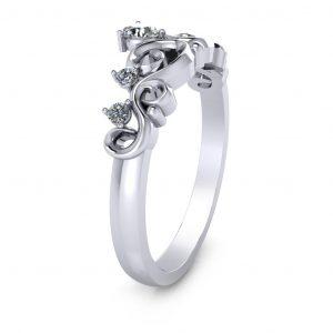 Elegant Crown Promise Ring - side view