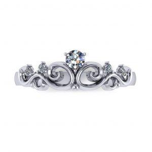 Elegant Crown Promise Ring - top view