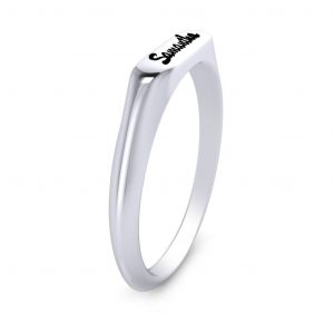 Cursive Name Ring - side view