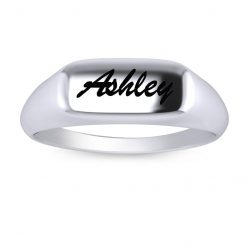 Engraved Name Ring - white gold