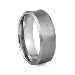 Concave Brushed Finish Tungston Ring 8mm