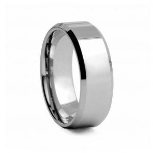 Flat Polished Tungston Ring 8mm