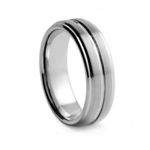 Brushed With Centre Groove Tungston Ring 8mm
