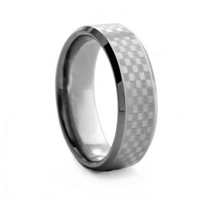 Checkerboard Design Tungston Ring 8mm