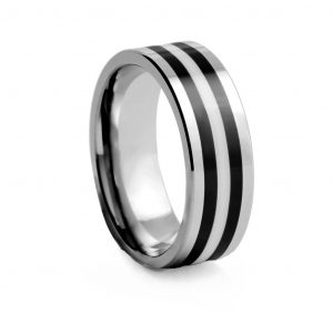 Flat Polished With Black Inlays Tungston Ring 8mm
