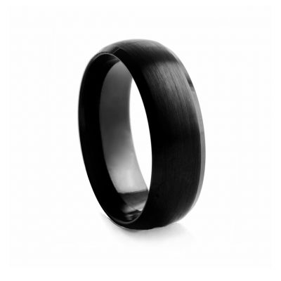Black Rounded Brushed Tungston Ring 8mm