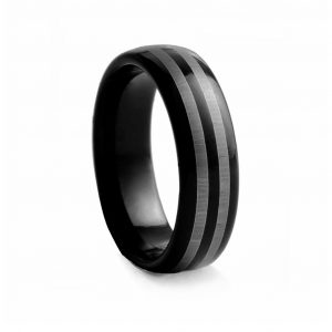 Black Rounded With Double Line Tungston Ring 8mm