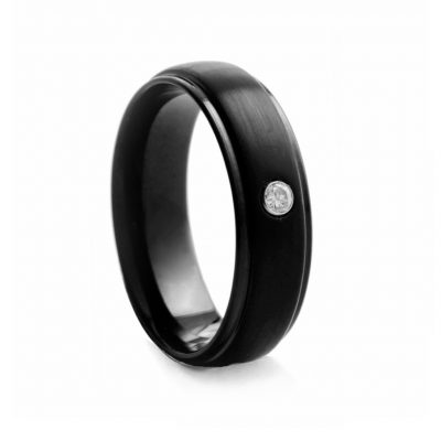 Black Brushed Tungston Ring With Stone 7mm